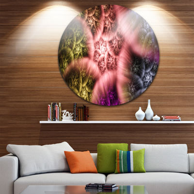 Designart Biblical Sky with Multi Color Clouds Abstract Round Circle Metal Wall Art Panel