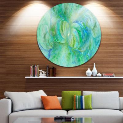 Designart Snow Fractal Glass Texture Abstract Round Circle Metal Wall Art