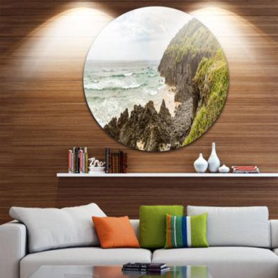 Designart Crescent Head Coastline in Australia Landscape Metal Circle Wall Art