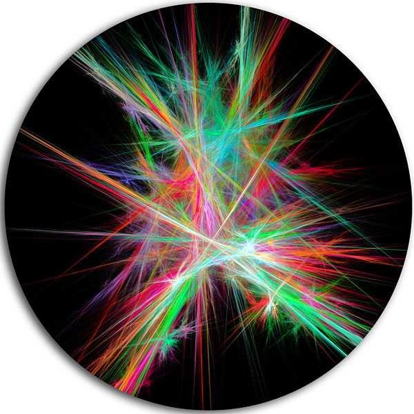 Designart Green Red Spectrum of Light Abstract Round Circle Metal Wall Art