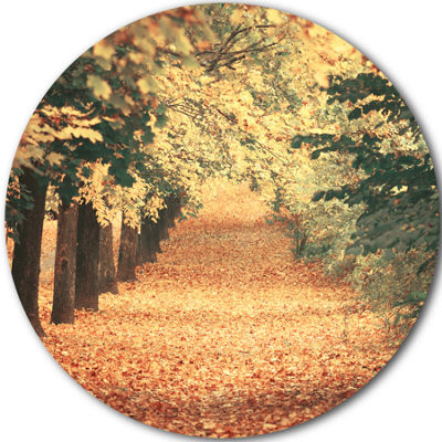Designart Autumn Forest with Walking Path Forest Metal Circle Wall Art