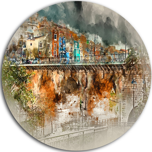 Designart Villajoyosa Town Digital Painting Cityscape Metal Circle Wall Art
