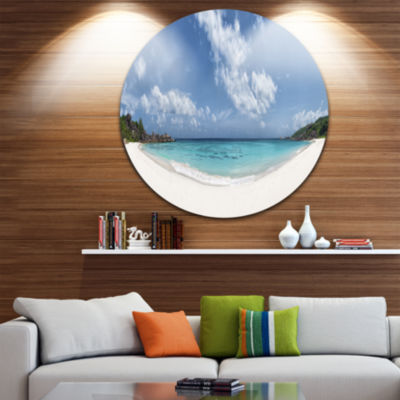 Designart Majestic Seychelles Beach Panorama LargeSeascape Art Metal Circle Wall Art