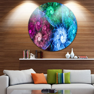 Designart Multi Color Bright Exotic Flowers Abstract Round Circle Metal Wall Art Panel