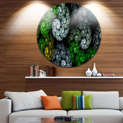 Designart Bright Exotic Spiral Flowers Abstract Round Circle Metal Wall Art Panel