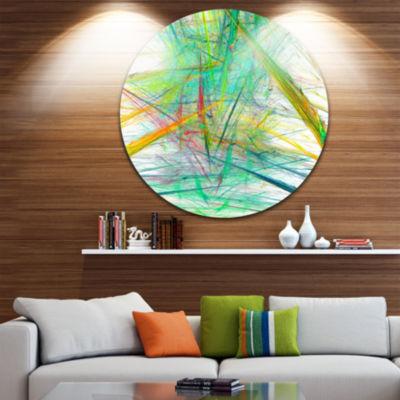 Designart Green Magical Fractal Pattern Abstract Round Circle Metal Wall Art