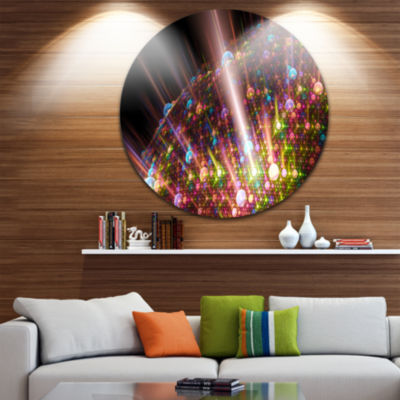Designart Multi Color Solar Bubbles Planet Abstract Round Circle Metal Wall Art