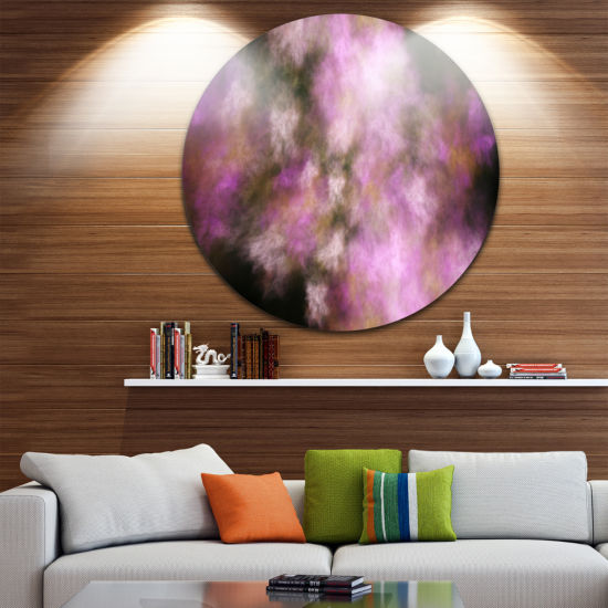 Designart Perfect Pink Starry Sky Abstract Round Circle Metal Wall Art