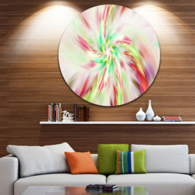 Designart Exotic Multi Color Spiral Flower Abstract Round Circle Metal Wall Art