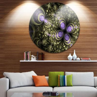 Designart Fractal Flower Light Brown Digital Art Large Flower Metal Circle Wall Art