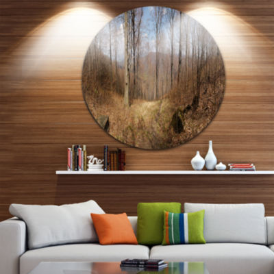 Designart Forest Scenery with Bare Trees Forest Metal Circle Wall Art