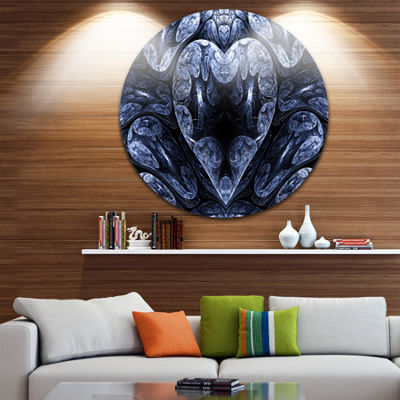 Designart Cold Mystical Fractal Heart Abstract Round Circle Metal Wall Art