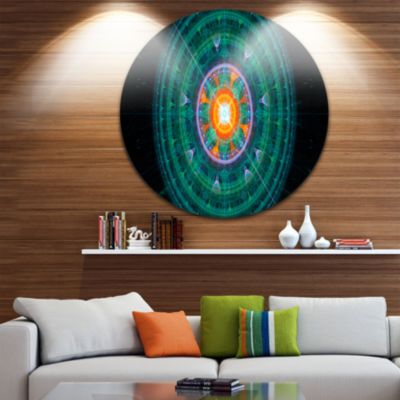 Designart Cabalistic Turquoise Fractal Sphere Abstract Round Circle Metal Wall Art