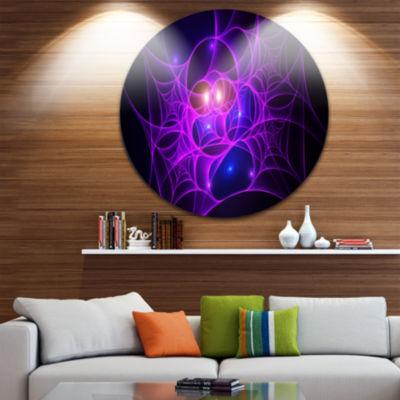 Designart Bright Purple Fractal Cobweb Abstract Round Circle Metal Wall Art