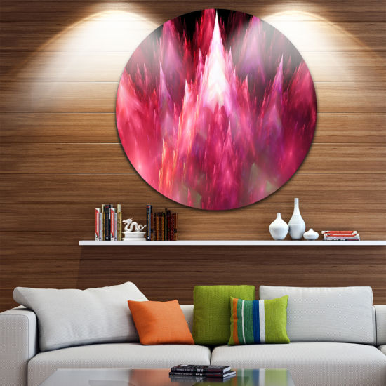Designart Red Fractal Crystals Design Abstract Round Circle Metal Wall Art