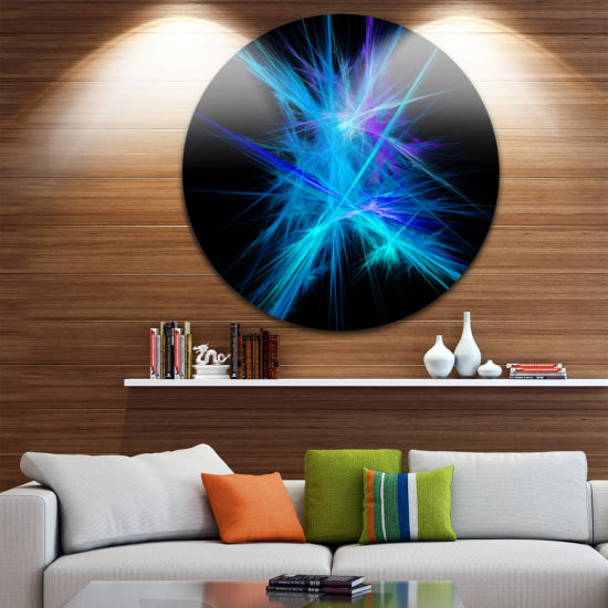 Designart Clear Blue Spectrum of Light Abstract Round Circle Metal Wall Art