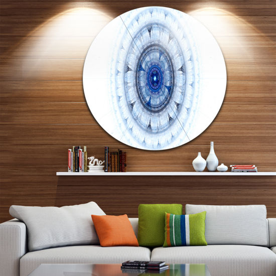 Designart Cabalistic Blue Fractal Sphere AbstractRound Circle Metal Wall Art