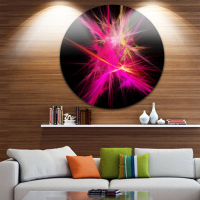 Designart Pink Fractal Chaos Multicolored Rays Abstract Round Circle Metal Wall Art