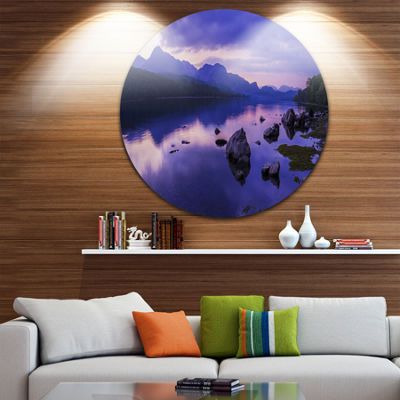 Designart Coniston Water in the Lake District Landscape Metal Circle Wall Art
