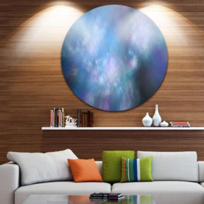 Designart Perfect Light Blue Starry Sky Abstract Round Circle Metal Wall Art