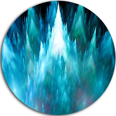 Designart Blue Fractal Crystals Design Abstract Round Circle Metal Wall Art