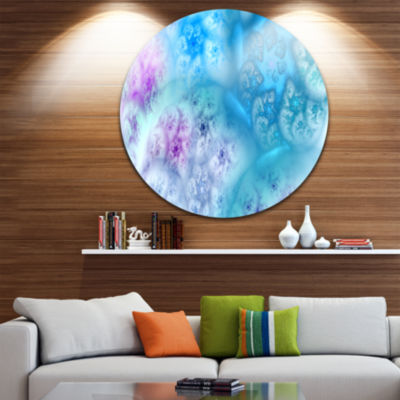 Designart Clear Blue Magic Stormy Sky Abstract Round Circle Metal Wall Art