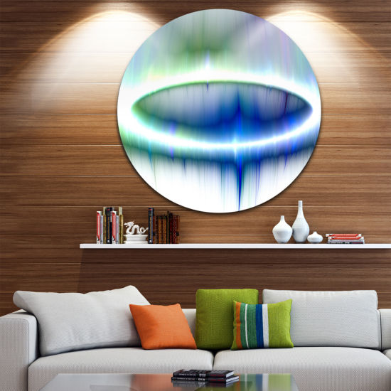 Designart Beautiful Blue Northern Lights AbstractRound Circle Metal Wall Art