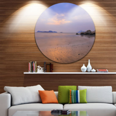 Designart Yellowish Sunset at Lung Kwu Tan Coastline Landscape Metal Circle Wall Art