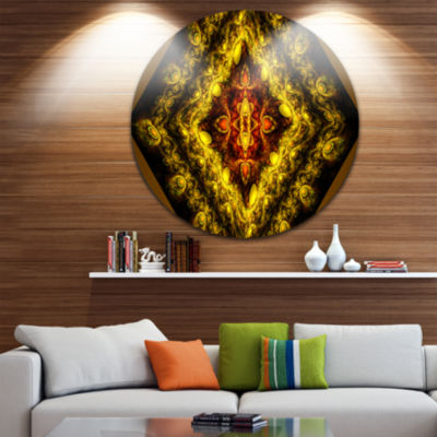 Designart Cabalistic Yellow Fractal Design Abstract Round Circle Metal Wall Art Panel