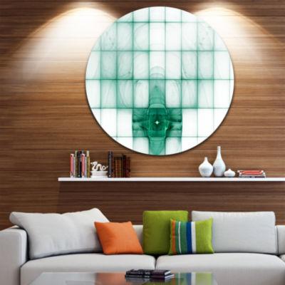 Designart Light Blue Bat on Radar Screen AbstractRound Circle Metal Wall Art