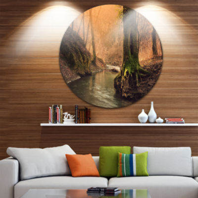 Designart Wild Creek in National Park Forest MetalCircle Wall Art
