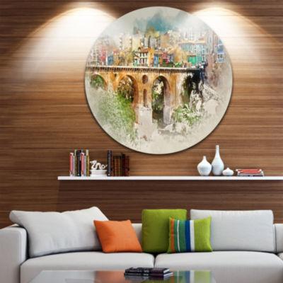 Designart Villajoyosa City Digital Art Bridge Cityscape Metal Circle Wall Art