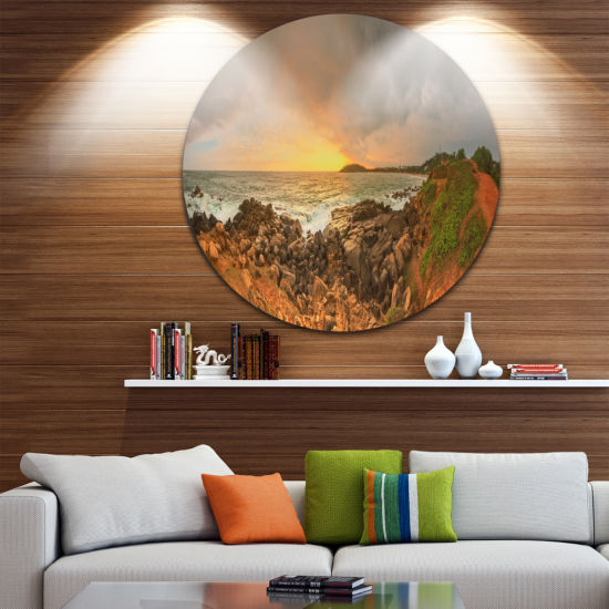 Designart Sunrise at Romantic Beach at Sri Lanka Landscape Metal Circle Wall Art