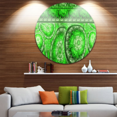 Designart Green Living Cells Fractal Design Abstract Round Circle Metal Wall Art