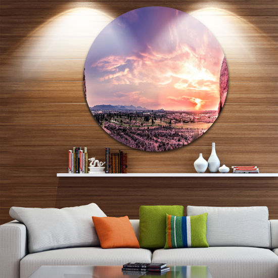 Designart Evening Red Sky over Phoenix Arizona Landscape Metal Circle Wall Art