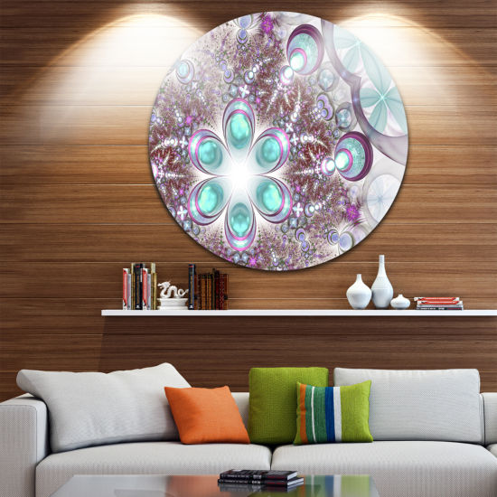 Designart Fractal Flower of Blue Digital Art LargeFlower Metal Circle Wall Art