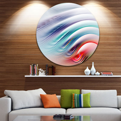 Designart Water Ripples Rainbow Waves Abstract Round Circle Metal Wall Art
