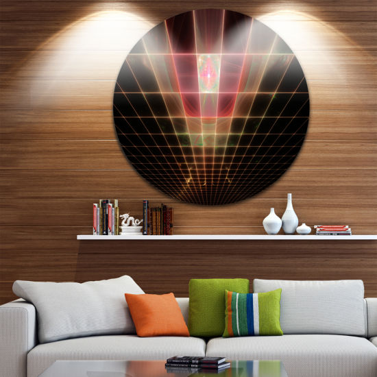 Designart Pink on Black Laser Protective Grids Abstract Round Circle Metal Wall Art