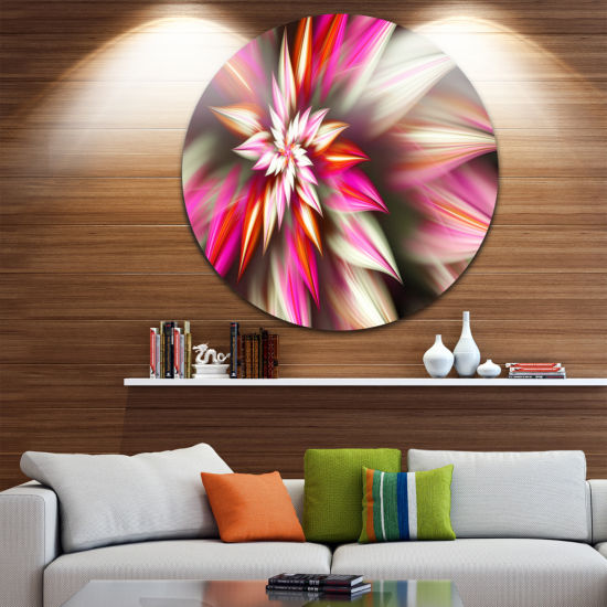 Designart Exotic Red Fractal Spiral Flower Abstract Round Circle Metal Wall Art