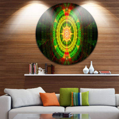 Designart Bright Green Fractal Sphere Abstract Round Circle Metal Wall Art Panel