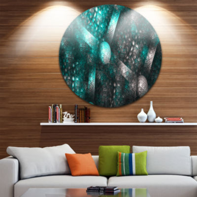 Designart Crystal Cell Blue Steel Texture AbstractRound Circle Metal Wall Art