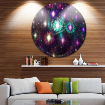 Designart Far Bright Colorful Space Galaxy Abstract Round Circle Metal Wall Art