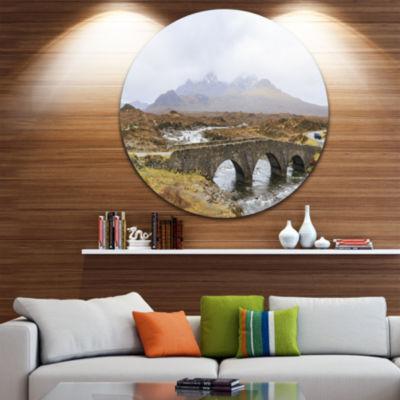 Designart Sligachan Old Bridge Panorama LandscapeMetal Circle Wall Art