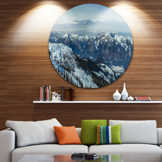 Designart White Ski Slope Panoramic View LandscapeMetal Circle Wall Art
