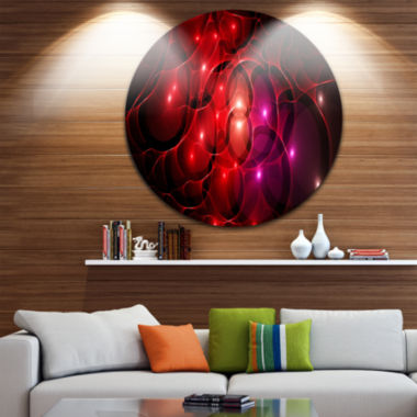 Designart Red Fractal Space Circles Abstract RoundCircle Metal Wall Art