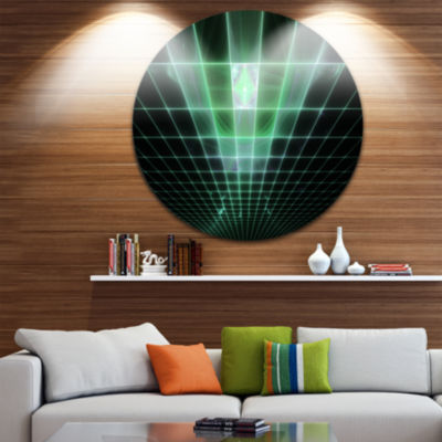 Designart Light Green Bat on Radar Screen AbstractRound Circle Metal Wall Art