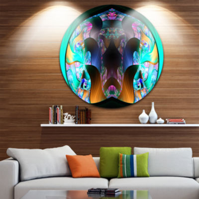 Designart Blue Capsule in Plasma Abstract Round Circle Metal Wall Art