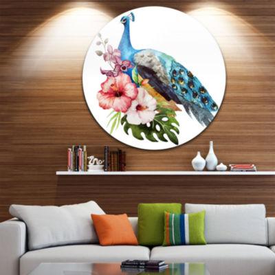 Designart Hibiscus Flowers and Blue Peacock LargeFlower Metal Circle Wall Art