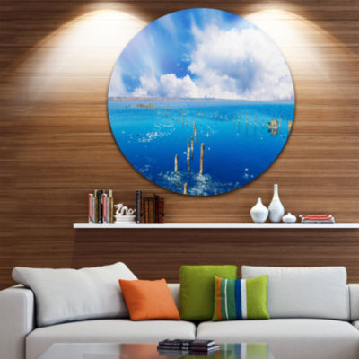 Designart Beautiful Blue Salk Lake Large SeascapeArt Metal Circle Wall Art
