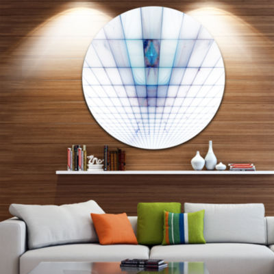 Designart Light Blue Laser Protective Grids Abstract Round Circle Metal Wall Art